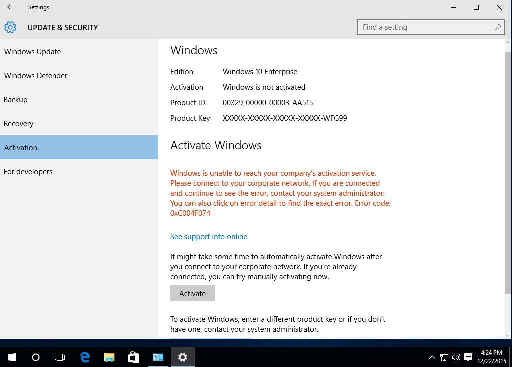 Ошибка 0xc004f074 Windows 10 фото