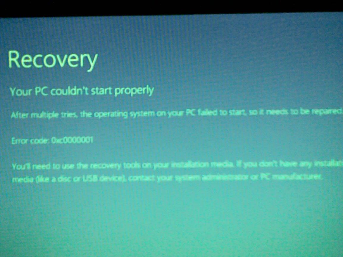 Методика исправления ошибки 0xc0000001 Windows 8
