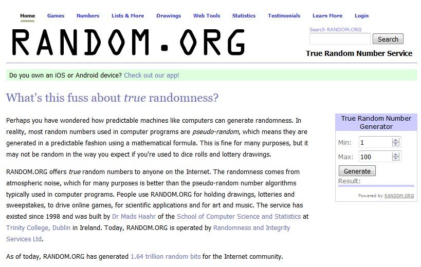 Random это онлайн генератор случайных чисел для конкурса в Инстаграм