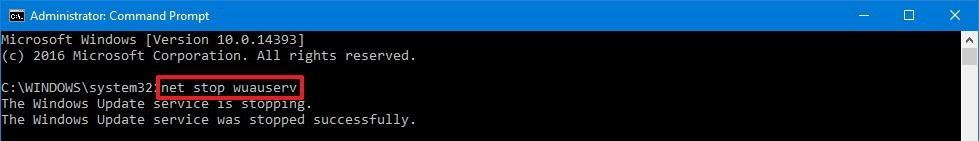 net stop wuauserv windows 10