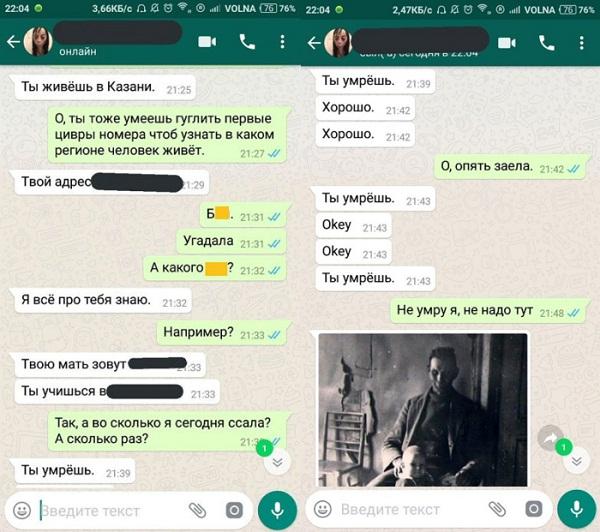 переписка с Момо в WhatsApp: фото