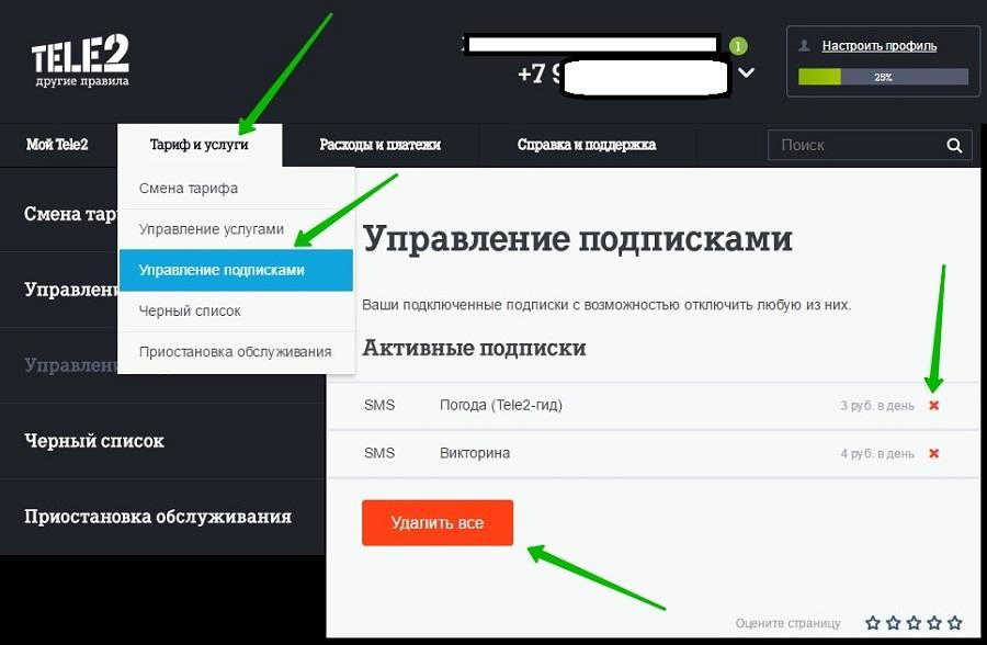 Теле2 Управление подписками