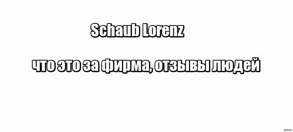 Schaub Lorenz: что это за фирма, отзывы людей
