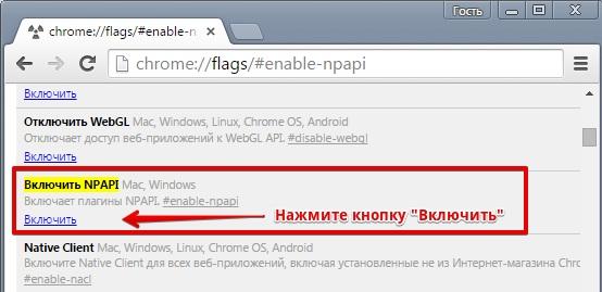 Как включить поддержку NPAPI в браузере Google Chrome