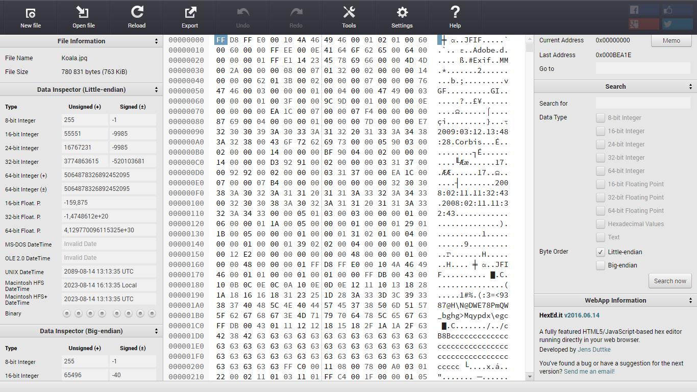 Редактор HEX файлов hexed.it