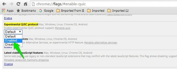 chrome://flags/#enable-quic отключите QUIC-протокол